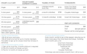 Smart Barre Alamo Heights Pricing